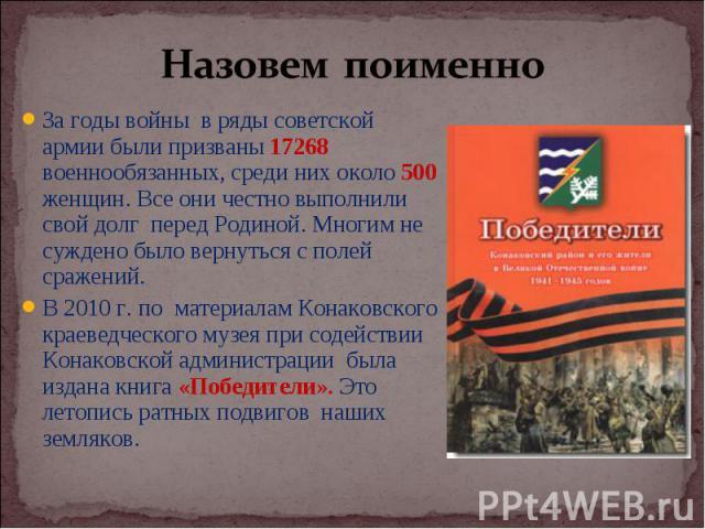 За годы войны в ряды советской армии были призваны 17268 военнообязанных, среди них около 500 женщин. Все они честно выполнили свой долг перед Родиной. Многим не суждено было вернуться с полей сражений. За годы войны в ряды советской армии были приз…