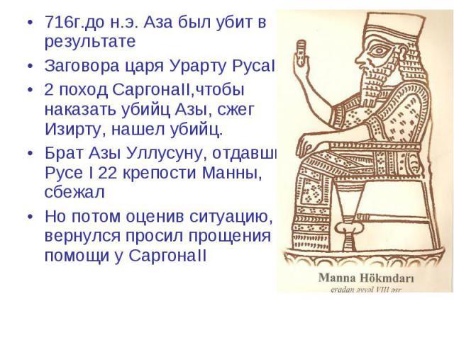 716г.до н.э. Аза был убит в результате 716г.до н.э. Аза был убит в результате Заговора царя Урарту РусаI 2 поход СаргонаII,чтобы наказать убийц Азы, сжег Изирту, нашел убийц. Брат Азы Уллусуну, отдавший Русе I 22 крепости Манны, сбежал Но потом оцен…