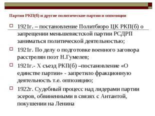 Партия РКП(б) и другие политические партии и оппозиции 1921г. – постановление По