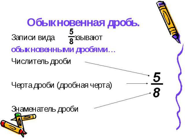 Обыкновенная дробь. Записи вида называют обыкновенными дробями… Числитель дроби Черта дроби (дробная черта) Знаменатель дроби