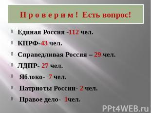 П р о в е р и м ! Есть вопрос! Единая Россия -112 чел. КПРФ-43 чел. Справедливая