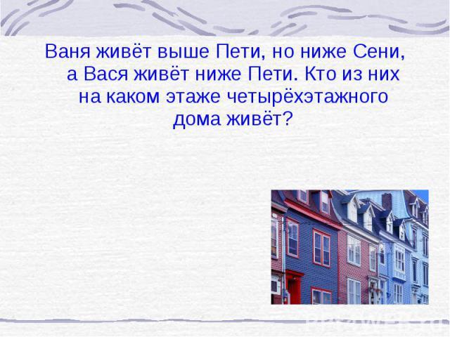Ваня живёт выше Пети, но ниже Сени, а Вася живёт ниже Пети. Кто из них на каком этаже четырёхэтажного дома живёт? Ваня живёт выше Пети, но ниже Сени, а Вася живёт ниже Пети. Кто из них на каком этаже четырёхэтажного дома живёт?