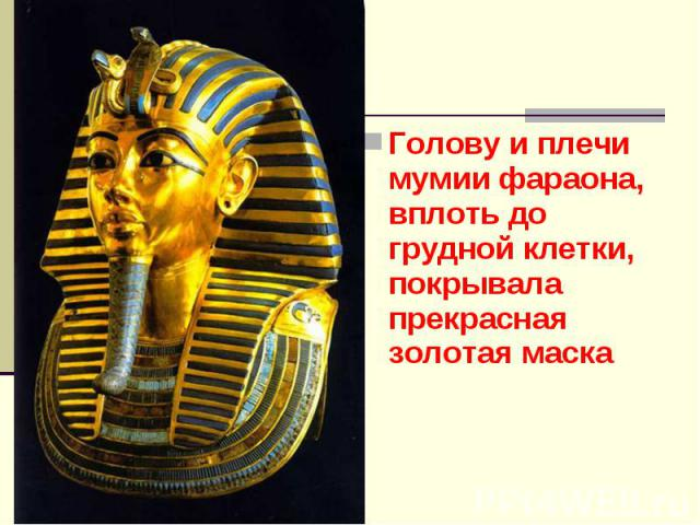 Голову и плечи мумии фараона, вплоть до грудной клетки, покрывала прекрасная золотая маска Голову и плечи мумии фараона, вплоть до грудной клетки, покрывала прекрасная золотая маска