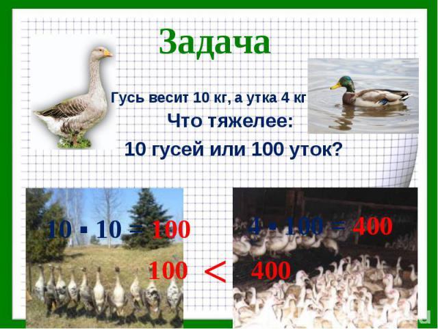 Что тяжелее: Что тяжелее: 10 гусей или 100 уток?