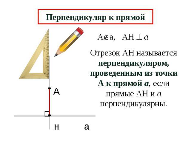 Перпендикуляр к прямой Отрезок АН называется перпендикуляром, проведенным из точки А к прямой а, если прямые АН и а перпендикулярны.