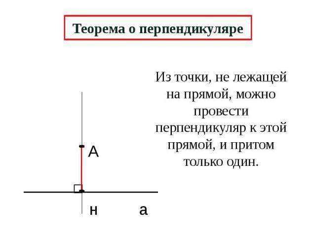 Теорема о перпендикуляре Из точки, не лежащей на прямой, можно провести перпендикуляр к этой прямой, и притом только один.