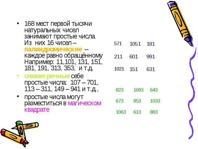 168 мест первой тысячи натуральных чисел занимают простые числа. Из них 16 чисел – палиндромические – каждое равно обращённому Например: 11,101, 131, 151, 181, 191, 313, 353, и т.д. 168 мест первой тысячи натуральных чисел занимают простые числа. Из…