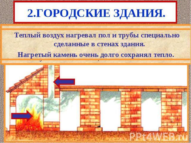 2.ГОРОДСКИЕ ЗДАНИЯ. В холодное время дома отапливались.Римляне пер-выми придумали систему центрального отопления. Во время строительства на нижнем этаже устанавлись специальные камины.
