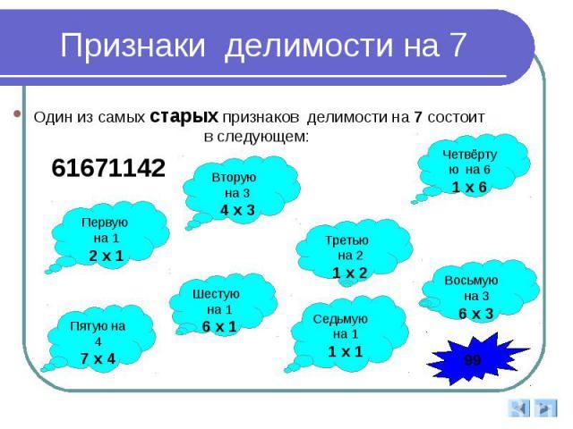 Признаки делимости на 7 Один из самых старых признаков делимости на 7 состоит в следующем: 61671142