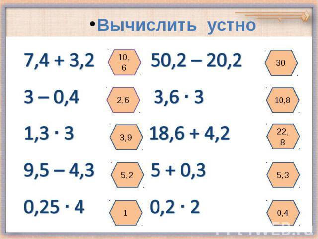 7,4 + 3,2 50,2 – 20,2 3 – 0,4 3,6 3 1,3 3 18,6 + 4,2 9,5 – 4,3 5 + 0,3 0,25 4 0,2 2 Вычислить устно