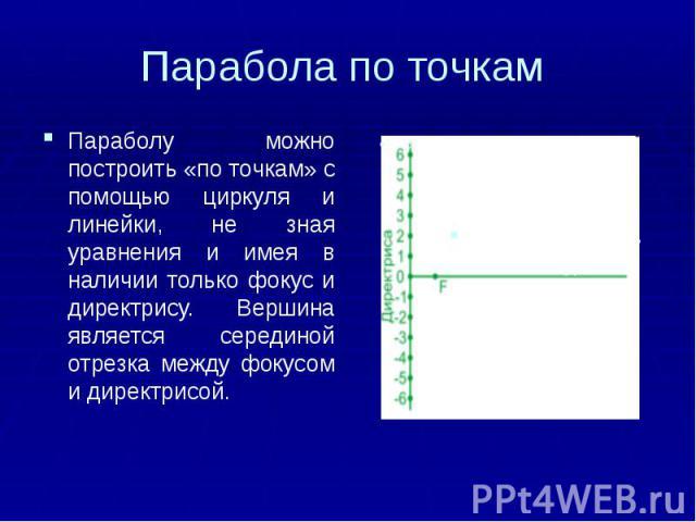 Парабола по точкам Параболу можно построить «по точкам» с помощью циркуля и линейки, не зная уравнения и имея в наличии только фокус и директрису. Вершина является серединой отрезка между фокусом и директрисой.