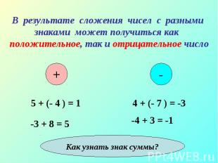 4 + (- 7 ) = -3 4 + (- 7 ) = -3