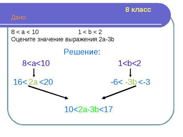 Дано: Дано: 8 < a < 10 1 < b < 2 Оцените значение выражения 2а-3b
