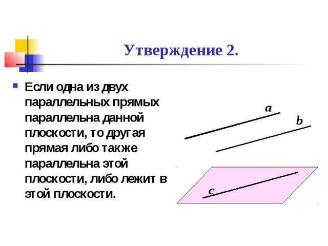 Утверждение 2. Если одна из двух параллельных прямых параллельна данной плоскости, то другая прямая либо также параллельна этой плоскости, либо лежит в этой плоскости.