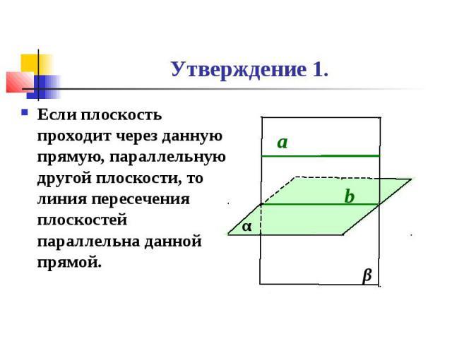 Утверждение 1. Если плоскость проходит через данную прямую, параллельную другой плоскости, то линия пересечения плоскостей параллельна данной прямой.