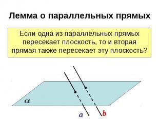 Лемма о параллельных прямых Если одна из параллельных прямых пересекает плоскост