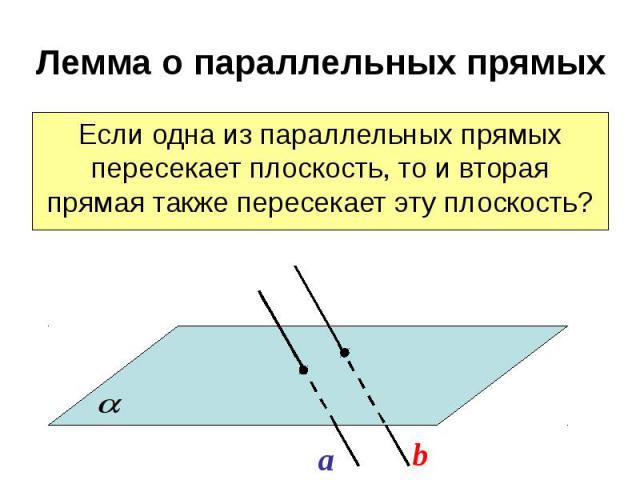 Лемма о параллельных прямых Если одна из параллельных прямых пересекает плоскость, то и вторая прямая также пересекает эту плоскость?