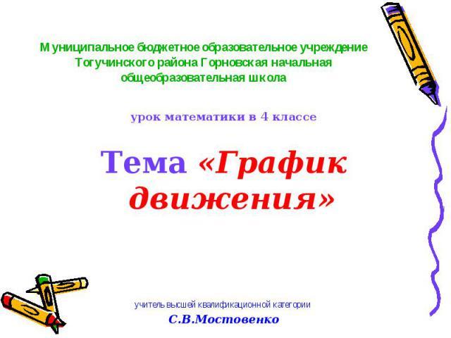 урок математики в 4 классе Тема «График движения» учитель высшей квалификационной категории С.В.Мостовенко
