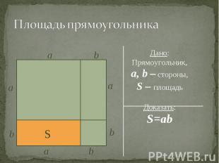 Дано: Дано: Прямоугольник, a, b – стороны, S – площадь Доказать: S=ab