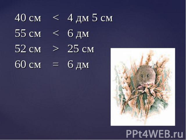 40 см < 4 дм 5 см 40 см < 4 дм 5 см 55 см < 6 дм 52 см > 25 см 60 см = 6 дм