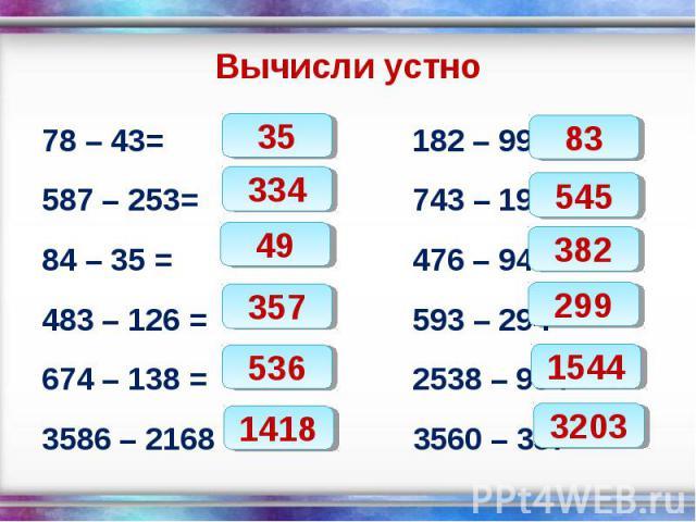 78 – 43= 182 – 99 = 78 – 43= 182 – 99 = 587 – 253= 743 – 198 = 84 – 35 = 476 – 94 = 483 – 126 = 593 – 294 = 674 – 138 = 2538 – 994 = 3586 – 2168 = 3560 – 357 =