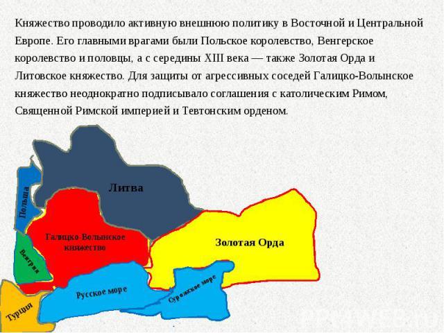 Княжество проводило активную внешнюю политику в Восточной и Центральной Европе. Его главными врагами были Польское королевство, Венгерское королевство и половцы, а с середины XIII века— также Золотая Орда и Литовское княжество. Для защиты от а…