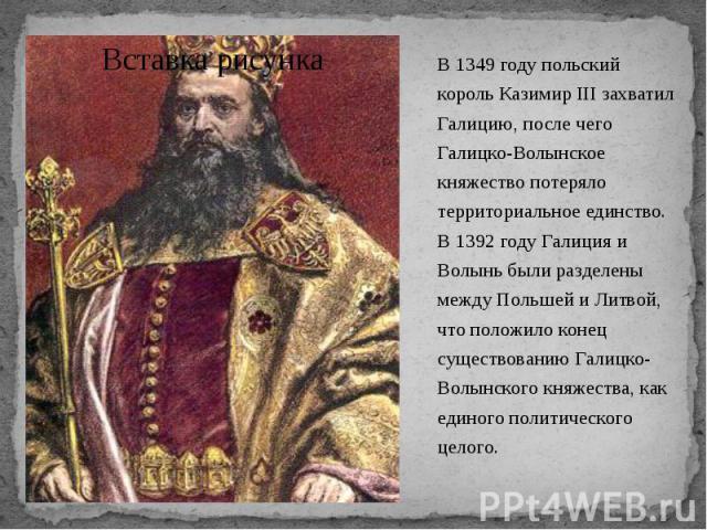 В 1349 году польский король Казимир III захватил Галицию, после чего Галицко-Волынское княжество потеряло территориальное единство. В 1392 году Галиция и Волынь были разделены между Польшей и Литвой, что положило конец существованию Галицко-Волынско…