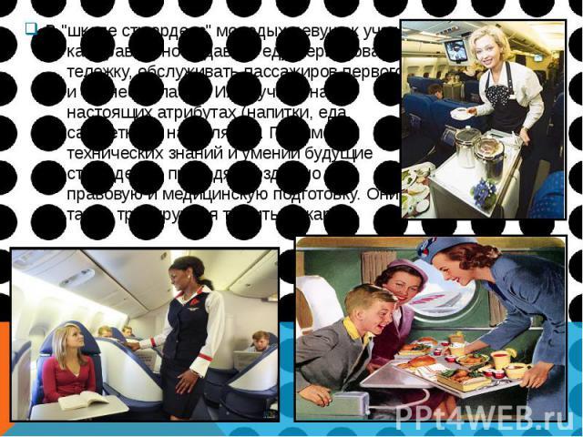 """В """"школе стюардесс"""" молодых девушек учат, как правильно подавать еду, сервировать тележку, обслуживать пассажиров первого и бизнес  класса. Их обучают на настоящих атрибутах (напитки, еда, салфетки) и на муляжах. Помимо технических з…"""