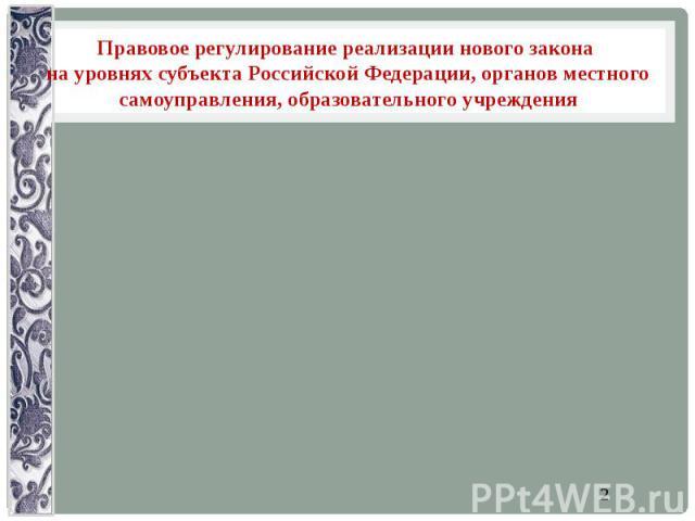 Правовое регулирование реализации нового закона на уровнях субъекта Российской Федерации, органов местного самоуправления, образовательного учреждения