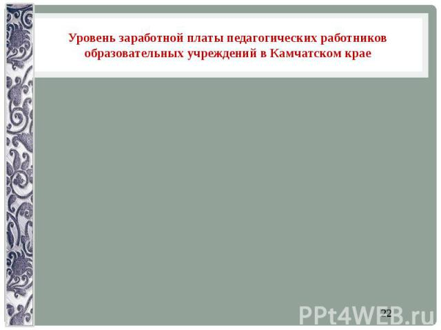Уровень заработной платы педагогических работников образовательных учреждений в Камчатском крае