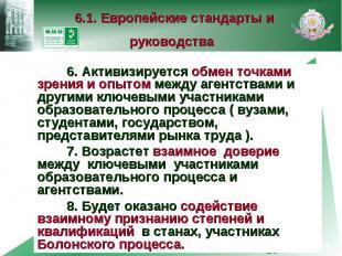 6.1. Европейские стандарты и руководства 6. Активизируется обмен точками зрения