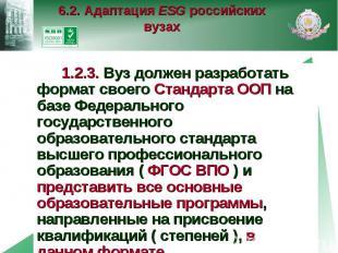 6.2. Адаптация ESG российских вузах 1.2.3. Вуз должен разработать формат своего