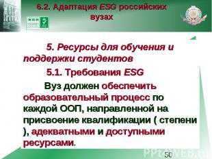 6.2. Адаптация ESG российских вузах 5. Ресурсы для обучения и поддержки студенто