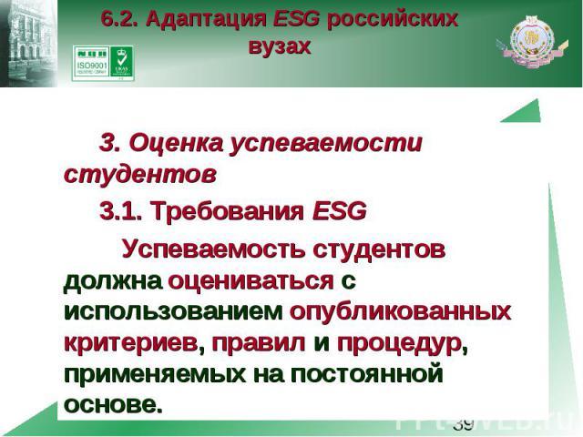 6.2. Адаптация ESG российских вузах 3. Оценка успеваемости студентов 3.1. Требования ESG Успеваемость студентов должна оцениваться с использованием опубликованных критериев, правил и процедур, применяемых на постоянной основе.