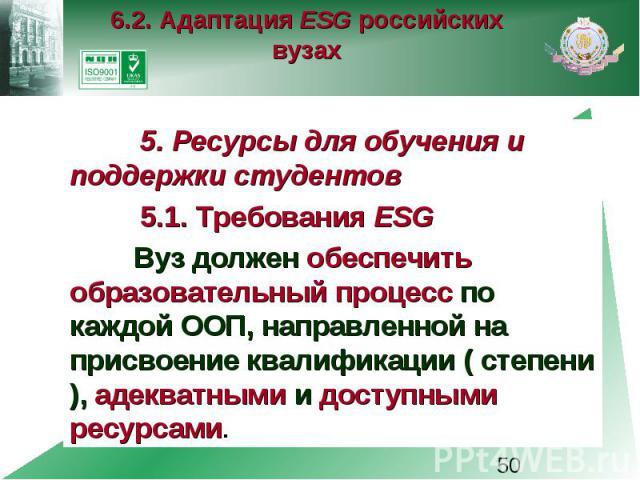 6.2. Адаптация ESG российских вузах 5. Ресурсы для обучения и поддержки студентов 5.1. Требования ESG Вуз должен обеспечить образовательный процесс по каждой ООП, направленной на присвоение квалификации ( степени ), адекватными и доступными ресурсами.