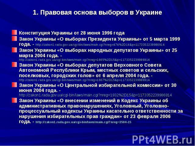 1. Правовая основа выборов в Украине Конституция Украины от 28 июня 1996 года Закон Украины «О выборах Президента Украины» от 5 марта 1999 года. - http://zakon1.rada.gov.ua/cgi-bin/laws/main.cgi?nreg=474%2D14&p=1173352239986914 Закон Украины «О …