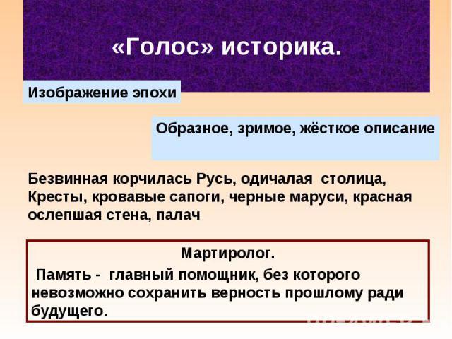 «Голос» историка.