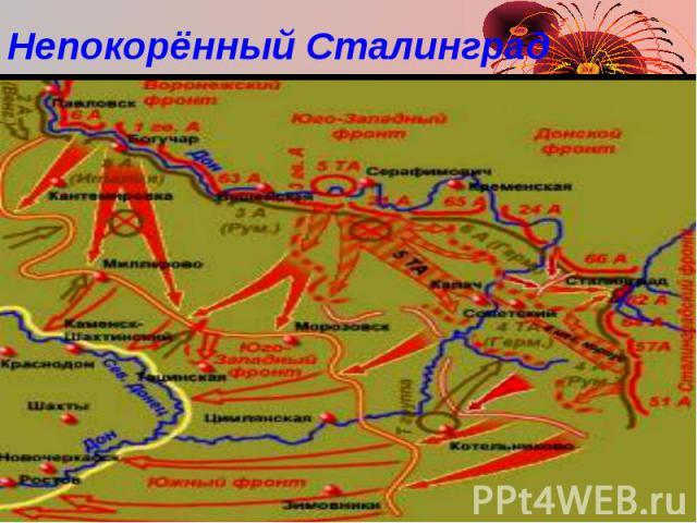 Непокорённый Сталинград Летом 1942 г. немцы заняли Ростов-на-Дону и через несколько дней вышли к Кавказскому хребту. Но дойти до нефти Грозного и Баку им не позволили советские солдаты. В октябре Жуков и Василевский разработали план контрудара под С…