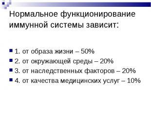 1. от образа жизни – 50% 1. от образа жизни – 50% 2. от окружающей среды – 20% 3