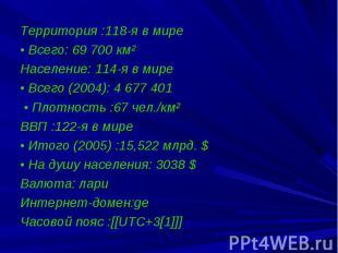 Территория :118-я в мире • Всего: 69 700 км² Население: 114-я в мире &nbsp