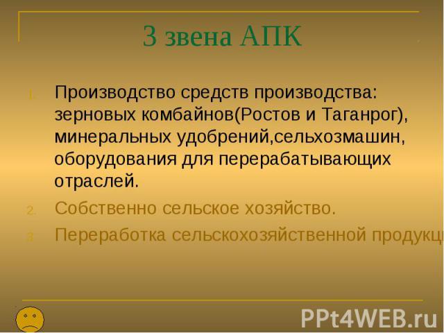 3 звена АПК Производство средств производства: зерновых комбайнов(Ростов и Таганрог), минеральных удобрений,сельхозмашин, оборудования для перерабатывающих отраслей. Собственно сельское хозяйство. Переработка сельскохозяйственной продукции.