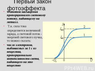 Первый закон фотоэффекта Фототок насыщения пропорционален световому потоку, пада