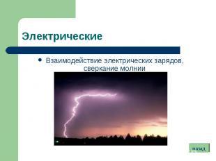 Взаимодействие электрических зарядов, сверкание молнии Взаимодействие электричес