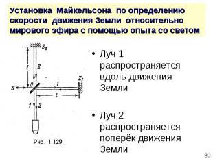 Луч 1 распространяется вдоль движения Земли Луч 1 распространяется вдоль движени