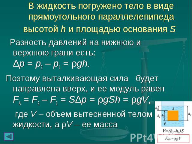В жидкость погружено тело в виде прямоугольного параллелепипеда высотой h и площадью основания S Разность давлений на нижнюю и верхнюю грани есть: Δp=p2–p1=ρgh. Поэтому выталкивающая сила будет направлена вверх, и…