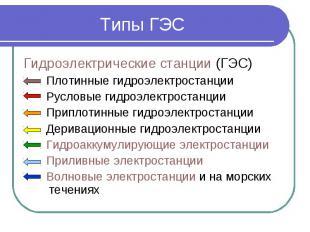 Типы ГЭС Гидроэлектрические станции (ГЭС) Плотинные гидроэлектростанции Русловые