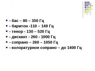 - бас – 80 – 350 Гц - бас – 80 – 350 Гц - баритон -110 – 149 Гц - тенор - 130 –