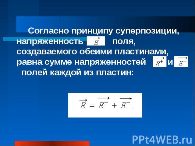 Согласно принципу суперпозиции, напряженность поля, создаваемого обеими пластинами, равна сумме напряженностей и полей каждой из пластин: Согласно принципу суперпозиции, напряженность поля, создаваемого обеими пластинами, равна сумме напряженностей …