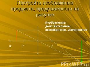 Постройте изображение предмета, предложенного на рисунке
