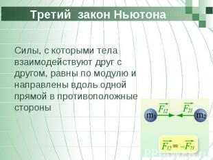 Третий закон Ньютона Силы, с которыми тела взаимодействуют друг с другом, равны